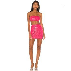 NEW Superdown Stacy Strapless Skirt Set Neon Pink